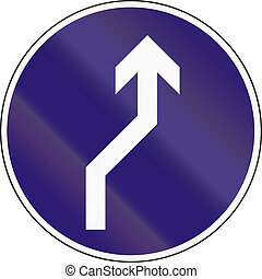 Road sign used in Hungary - Reverse turn to the right.