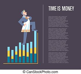 Time is money banner with businessman in roman toga and...