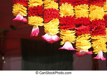 Festival Of Dewali flower garland background with copy space