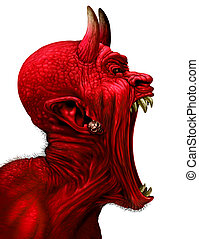 Devil Scream - Devil scream character as a red demon or...