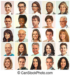 Set of people faces. - Set of smiling face collection....