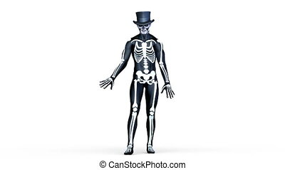 skeleton costume man - Image of a skeleton costume man.