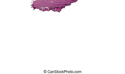 purple paint pouring on white in slow motion. juice.