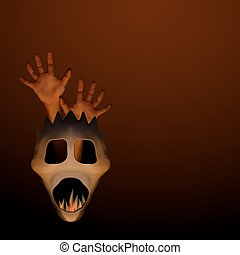 Spooky halloween mask with human hand and frame inside on...