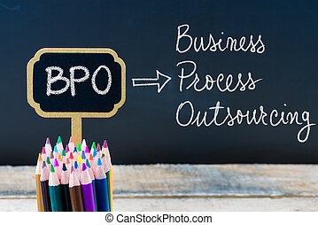 Business Acronym BPO Business Process Outsourcing written with chalk on wooden mini blackboard labels