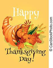 Thanksgiving Day cornucopia greeting card. Traditional...