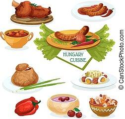 Hungarian cuisine icon for restaurant menu design -...
