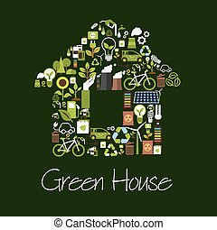 Eco green house symbol with ecological icons - Eco green...