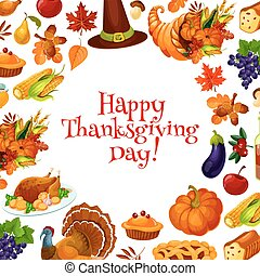 Happy Thanksgiving Day greeting card, banner with text and...