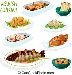 Jewish cuisine icon for festive dinner menu design - Jewish...