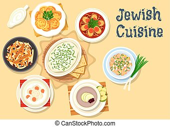 Jewish cuisine dishes icon for kosher menu design - Jewish...