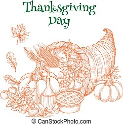 Thanksgiving harvest cornucopia greeting sketch -...
