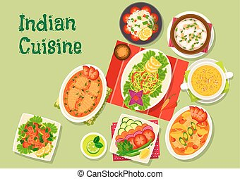 Indian cuisine lunch dishes icon for menu dessign - Indian...