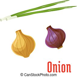 Onion vegetable with sprouted green leaves icon - Fresh...