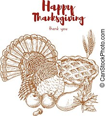 Thanksgiving holiday sketch turkey, pie, harvest