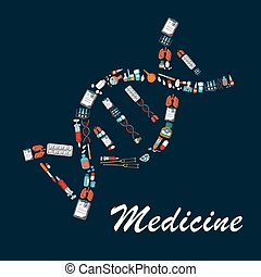 DNA helix symbol made up of medical sketch icons - DNA helix...