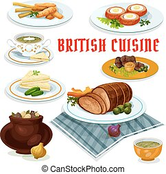 British cuisine dinner menu cartoon icon - British cuisine...