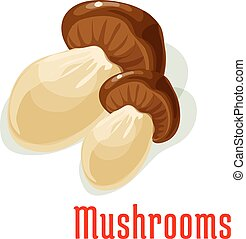 Boletus or porcini edible mushroom cartoon icon - Boletus...