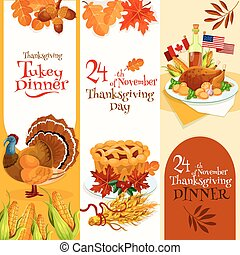 Thanksgiving Day dinner invitation banners set. Vector...