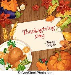 Thanksgiving. Turkey dinner invitation card - Thanksgiving...