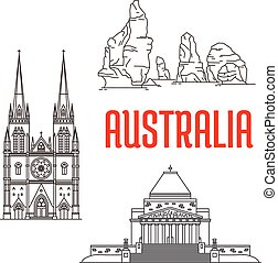 Australian travel landmarks linear icon - Travel landmarks...