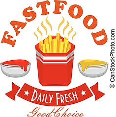 French fries fast food menu symbol with takeaway red box of...
