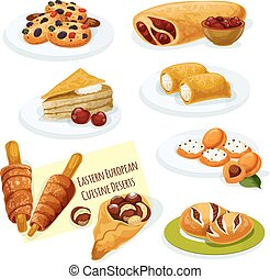 Eastern european cuisine pastry desserts icon - Eastern...