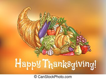 Happy Thanksgiving Day greeting card. Traditional harvest...