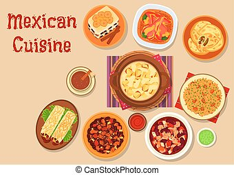 Mexican cuisine dishes icon for menu design - Mexican...