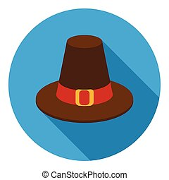 Pilgrim hat icon in flat style isolated on white background....