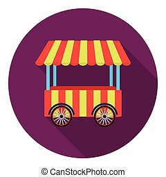 Snack cart icon in flat style isolated on white background...
