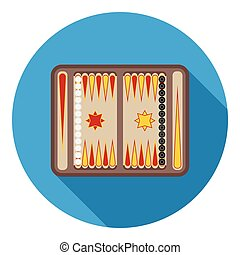 Backgammon icon in flat style isolated on white background....