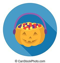 Halloween bucket icon in flat style isolated on white...
