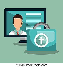 computer with medicine icon - avatar medical doctor on...