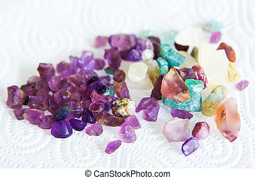 Collection of many different natural gemstones colorful.