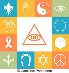 Religion, esoteric and mystery icons colorfull set. Vector...