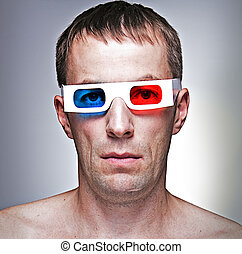 man with 3D glasses - man head with 3D - effect anaglyph...