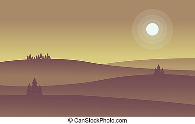 Landscape of hill and full moon silhouettes