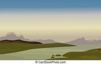 Silhouette of river landscape vector