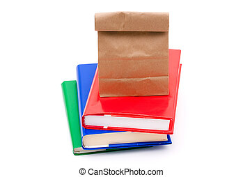 School Days - A colourful stack of books isolated on a white...