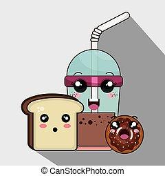 donut and coffee kawaii cartoon - sweet donut with coffee...