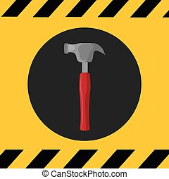 hammer construction tools - hammer with red handle over...