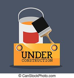 under construction design - paint bucket and brush tools....