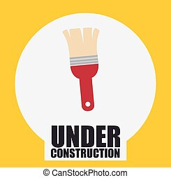 under construction design - paint brush with red handle....