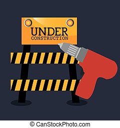 under construction design - red drill tool and barrier....