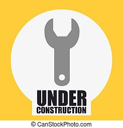 under construction design - metal wrench tool over white...