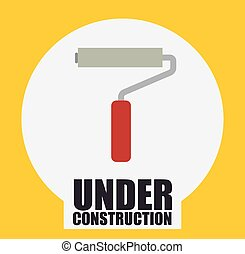 under construction design - paint roll with red handle over...
