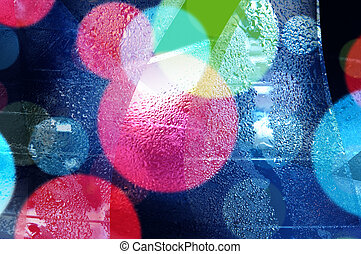 Abstract bokeh and droplets for colorful background