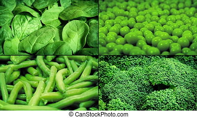 Green Vegetables Rotating Montage - Closeups of fresh green...