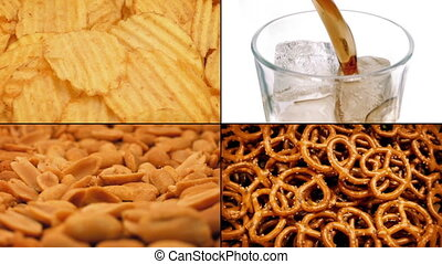 Game Day Snacks Montage - Glass of coke, peanuts, pretzels...